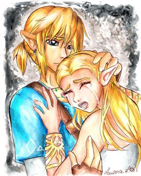Link and Zelda- Crying With Despair by Lea-Manga