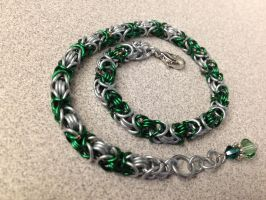 Green and Silver Anklet by NikidaEve