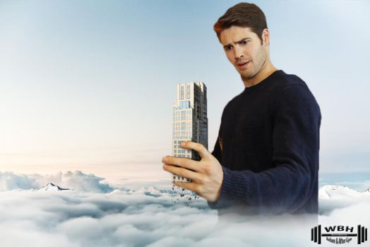 Steven holding crumbling building by wannabehuge