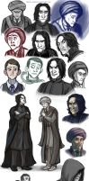 Quirrell and Snape (and Voldy) sketch dump by FriendlyChestnut