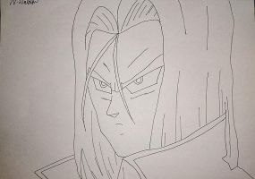 Dragon ball Z- Future Trunks line art (incomplete) by nial-09