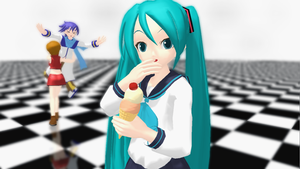 Miku + Ice Cream by BottledWottle