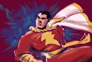 Shazam. Capt Marvel Painter pastels by ADE-doodles