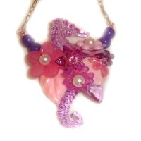 Purple Seahorse Necklace by AndyGlamasaurus