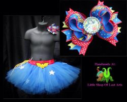 Wonder Woman inspired tie back tutu skirt costume by LittleShopOfLostArts