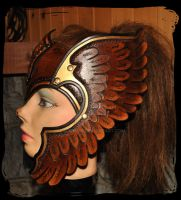 Valkyrie leather helmet by Lagueuse