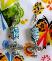 Psychedelic Earrings by lavadragon
