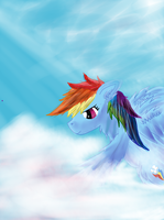 Rainbow Dash In the Clouds by CalebP1716