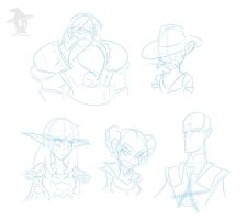 Flintlocke and Party Sketches by Obhan