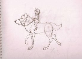 farmer and riding wolf by Wolfdog27