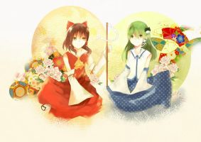 Touhou-Reimu and Sanae by ciceon