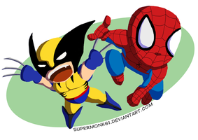 Chibi Spidey and Wolvie by Artfulgent