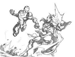 Iron Man VS Mandarin sketch commission by CarlosGomezArtist