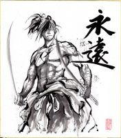 Samurai Sumie on Shikishi paper by MyCKs