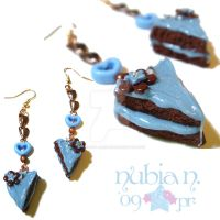 Blueberry Choco Cake Earrings by colourful-blossom