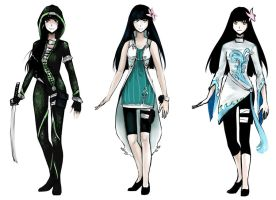Commission: 3 outfit designs for Yuzuki by gehirnkaefer