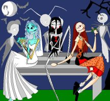 Tim Burton Ladies by theghostlyartist