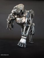 Mechanical metal gorilla - standing  thinking by Andrew-Chase