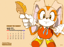 Calendario octubre 2009 Cream by kamiase