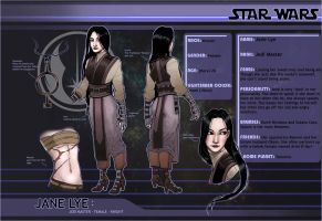Star Wars: Jane Lye-  Character Sheet by BleedingHeartworks