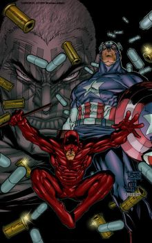 Daredevil with Captain America by Roderic-Rodriguez