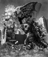 Godzilla '94 vs. the Gryphon in NYC by SydSilco