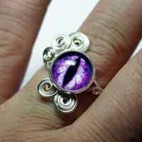 Steampunk Violet Evil Dragon Wire Wrap Eye Ring by Create-A-Pendant