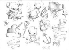 Tattoo Flash Page by nemesisenforcer