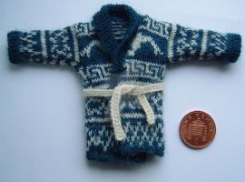 1:12th scale Man's cardigan by buttercupminiatures