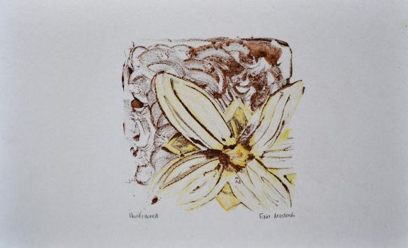 Flower Hand Colored Subtractive Monotype Print by Erinwolf1997