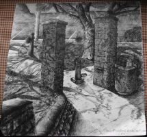 Pen and Ink Landscape by TheRootOfAllEvil