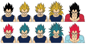 Vegeta (comparison of forms) by Cyclone97
