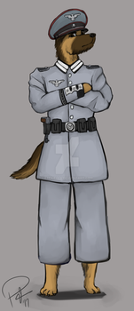 Commission - WW2 Soldier Shepherd by Exekiella