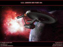 STAR TREK - U.S.S. LEXINGTON OVER PLANET-644 by ulimann644