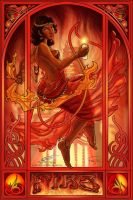 Art Nouveau:  Fire by SkyHighDreamingKate