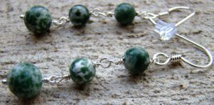 Moss Agate Earrings by Mommy-of-Monsters