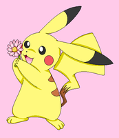 Pika's Flower-Ms Paint by lossetta932