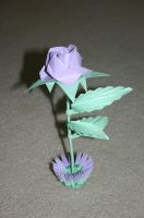 3D Origami Purple Rose with Small Basket by CrystallizedJello