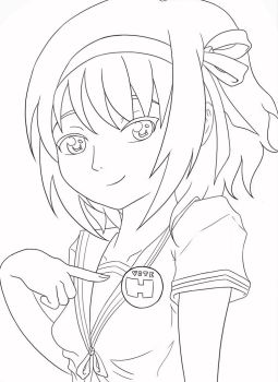 Haruhi Lineart by Magicalmog