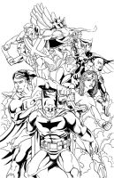 Justice League of America Ink by thelearningcurv