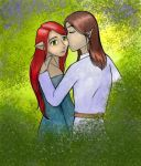 a kiss in the woods 1 by Catbanshee