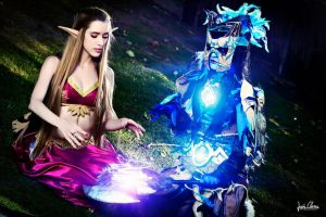 WoW- Blood elf y draenei chaman by VeroEs