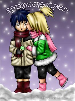 Sasuke x Deidara: Winter Kiss by sagoma