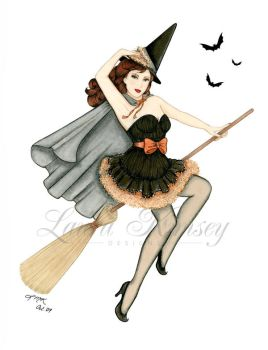 Holiday Pinup: Bewitched by laurakimseydesigns