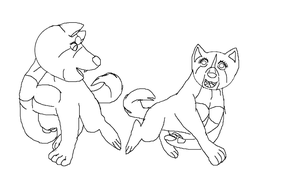 Two Akitas lineart 2 by YamiKariShadow6