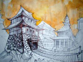 Pagoda Temple watercolor by Samuel-de-Deviant