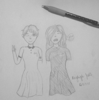 drew my and my bff by Br0ken-Wing5