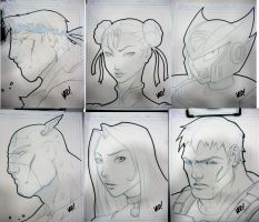 SDCC Head sketches by E-V-IL