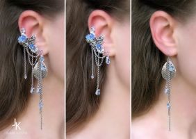 Ear cuff and long earrings Spring air by JSjewelry