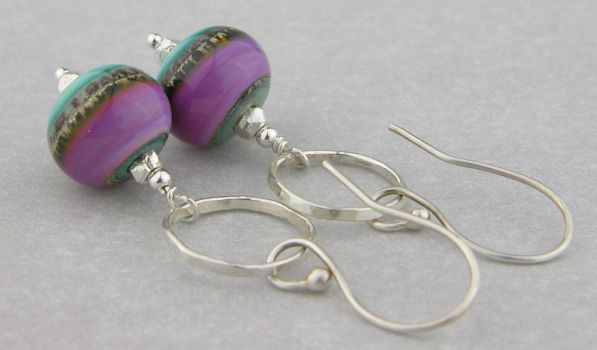 Orchid and Teal Rings Earrings by cserpentDesigns